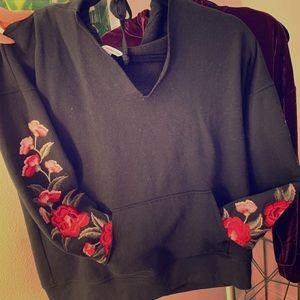 Rose sleeve hoodie